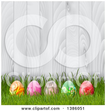 Clipart of 3d Easter Eggs in Grass Against a White Wood Fence - Royalty Free Vector Illustration by KJ Pargeter