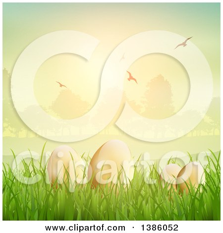 Clipart of 3d Gold Easter Eggs in Grass Against a Park at Sunset, with Flying Birds - Royalty Free Vector Illustration by KJ Pargeter