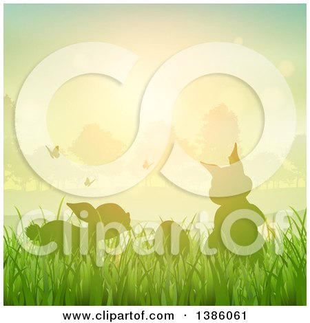 Clipart of Silhouetted Bunny Rabbits with Butterflies and an Egg in Grass Against a Sunset - Royalty Free Vector Illustration by KJ Pargeter