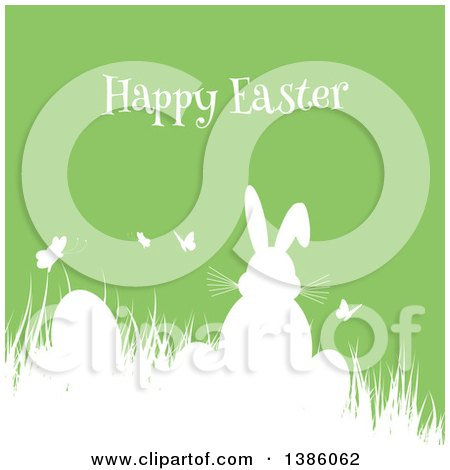Clipart of a White Silhouetted Bunny Rabbit with Butterflies and Eggs in Grass, over Green - Royalty Free Vector Illustration by KJ Pargeter