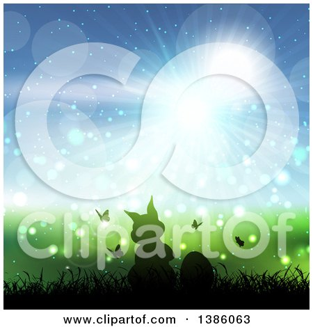 Clipart of a Silhouetted Bunny Rabbit with Butterflies and Eggs in Grass Against a Blue Sunny Sky - Royalty Free Vector Illustration by KJ Pargeter