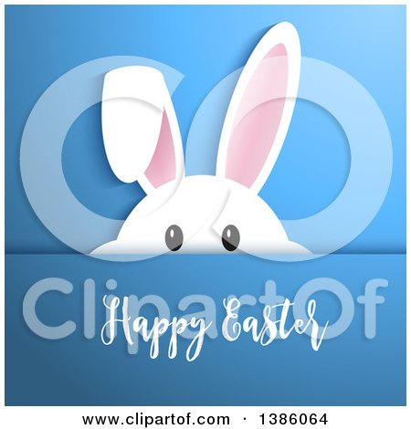 Clipart of a White Bunny Rabbit Peeking over Blue with Happy Easter Text - Royalty Free Vector Illustration by KJ Pargeter