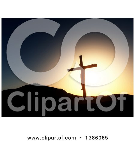 Clipart of a Scene of 3d Silhouetted Jesus Christ on the Cross Against a Sunset - Royalty Free Illustration by KJ Pargeter