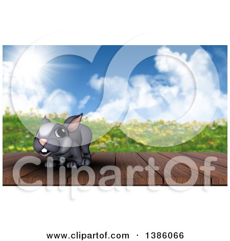 Clipart of a 3d Cute Gray Easter Bunny Rabbit on a Deck Against a Spring Landscape - Royalty Free Illustration by KJ Pargeter