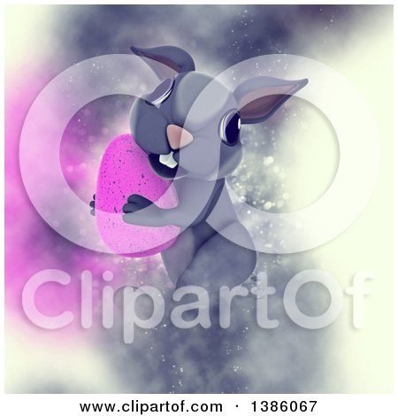 Clipart of a 3d Cute Gray Bunny Rabbit Carrying a Pink Easter Egg, on a Dreamy Background - Royalty Free Illustration by KJ Pargeter