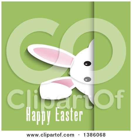 Clipart of a White Bunny Rabbit Peeking over Green with Happy Easter Text - Royalty Free Vector Illustration by KJ Pargeter