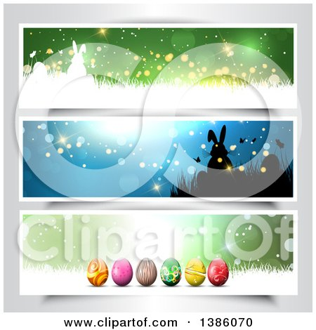 Clipart of Easter Website Headers - Royalty Free Vector Illustration by KJ Pargeter