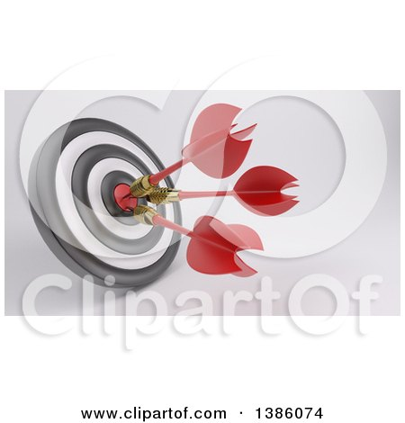 Clipart of a 3d Target with Three Darts in the Bullseye, on a Shaded Background - Royalty Free Illustration by KJ Pargeter