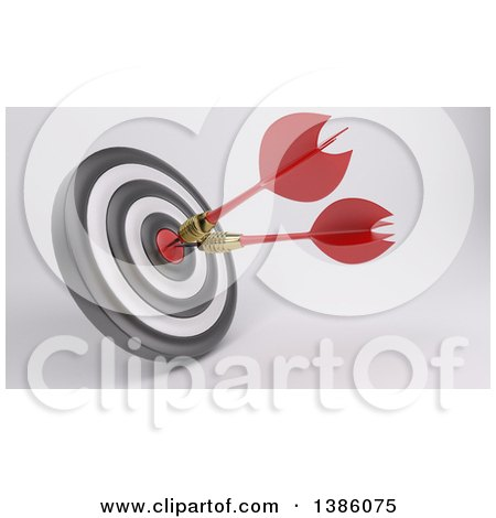 Clipart of a 3d Target with Two Darts in the Bullseye, on a Shaded Background - Royalty Free Illustration by KJ Pargeter