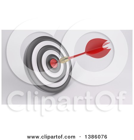 Clipart of a 3d Target with a Dart in the Bullseye, on a Shaded Background - Royalty Free Illustration by KJ Pargeter