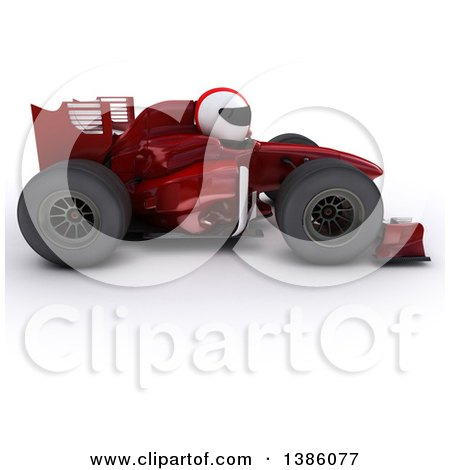 Clipart of a 3d Driver in a Forumula One Race Car, on a White Background - Royalty Free Illustration by KJ Pargeter