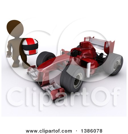 Clipart of a 3d Brown Man Driver Holding a Helmet by a Forumula One Race Car, on a White Background - Royalty Free Illustration by KJ Pargeter