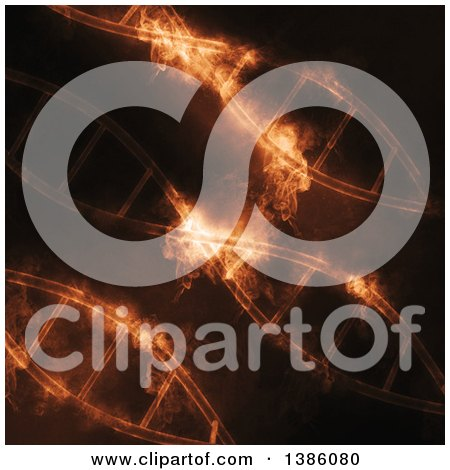 Clipart of a Background of Diagonal DNA Strands with Smoke - Royalty Free Illustration by KJ Pargeter