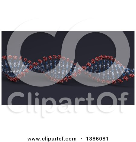Clipart of a 3d DNA Strand on Dark Blue - Royalty Free Illustration by KJ Pargeter