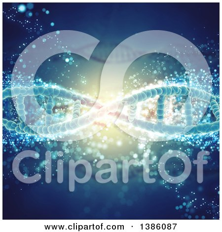 Clipart of a Background of Diagonal DNA Strands with Bubbles - Royalty Free Illustration by KJ Pargeter