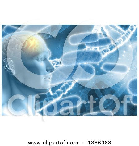 Clipart of a 3d Male Human Head with Visible Glowing Brain over Bacteria and Dna Strands - Royalty Free Illustration by KJ Pargeter