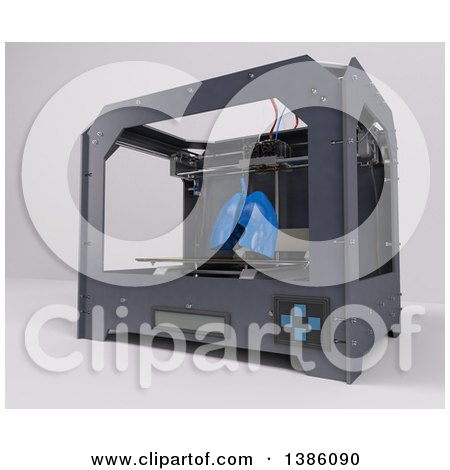 Clipart of a 3d Printer Creating Human Lungs, on a Shaded Background - Royalty Free Illustration by KJ Pargeter