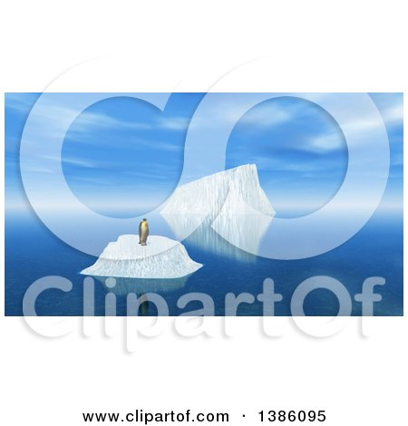 Clipart of a 3d Lone Penguin on an Iceberg - Royalty Free Illustration by KJ Pargeter
