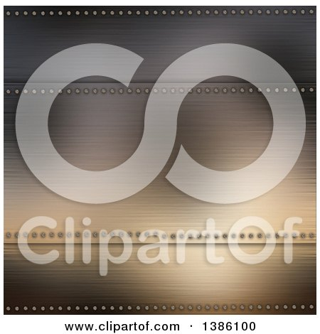 Clipart of a Brushed Metal Background with Panels Framed with Screws - Royalty Free Illustration by KJ Pargeter