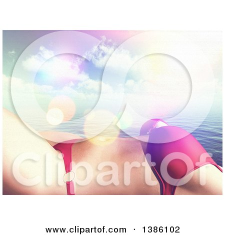 Clipart of a 3d Cropped Torso of a Caucasian Woman in a Bikini, Sun Bathing over the Ocean and Clouds - Royalty Free Illustration by KJ Pargeter