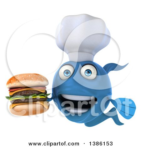 Clipart of a 3d Blue Fish Chef Facing Left, Holding a Double Cheeseburger, on a White Background - Royalty Free Illustration by Julos