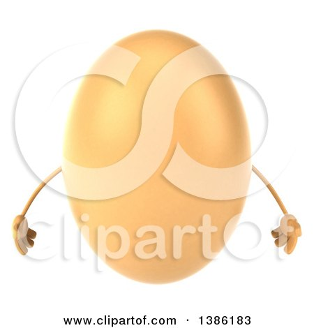 Clipart of a 3d Egg Character, on a White Background - Royalty Free Illustration by Julos