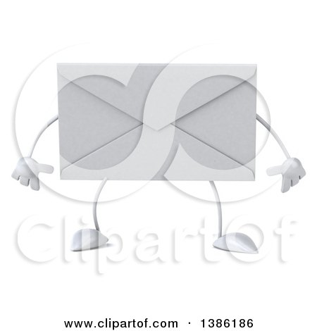 Clipart of a 3d Envelope Character, on a White Background - Royalty Free Illustration by Julos