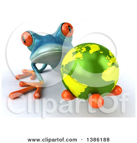 Clipart of a 3d Turquoise Frog Holding out an Earth Globe, on a White Background - Royalty Free Illustration by Julos