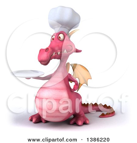 Clipart of a 3d Pink Dragon Chef, on a White Background - Royalty Free Illustration by Julos