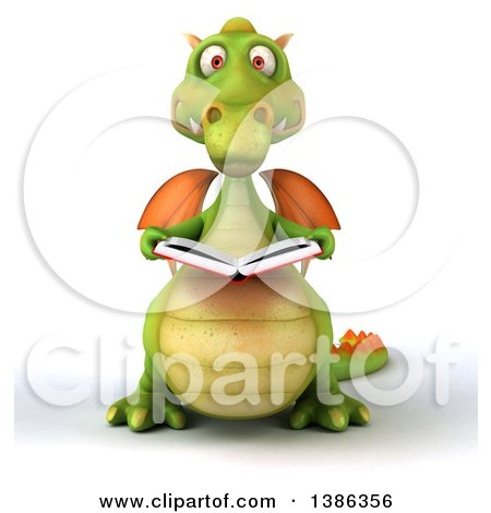 Clipart of a 3d Green Dragon, on a White Background - Royalty Free Illustration by Julos