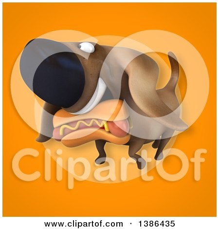 Clipart of a 3d Wiener Dog and Hot Dog, on an Orange Background - Royalty Free Illustration by Julos