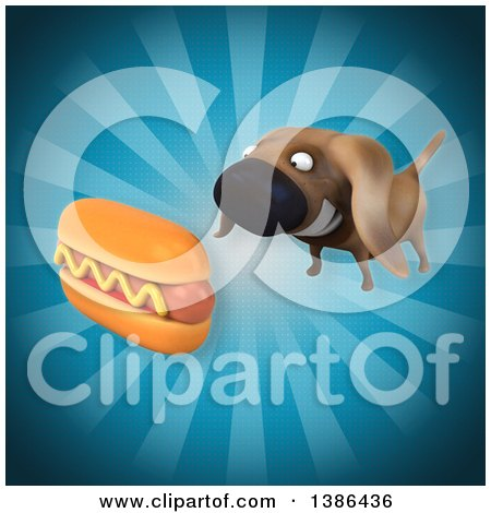 Clipart of a 3d Wiener Dog with a Hot Dog, on a Blue Background - Royalty Free Vector Illustration by Julos
