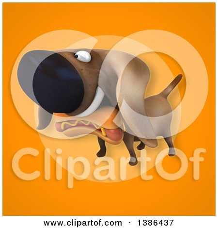 Clipart of a 3d Wiener Dog Carrying a Hot Dog, on an Orange Background - Royalty Free Vector Illustration by Julos