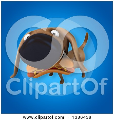 Clipart of a 3d Wiener Dog Carrying a Hot Dog, on a Blue Background - Royalty Free Vector Illustration by Julos