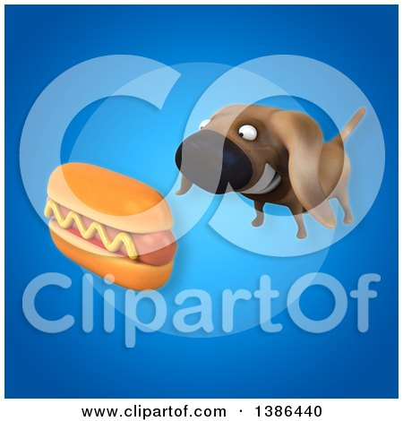 Clipart of a 3d Wiener Dog and Hot Dog, on a Blue Background - Royalty Free Illustration by Julos