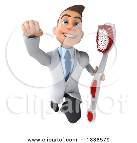 Clipart of a 3d Happy Young Brunette White Male Dentist Flying with a Giant Toothbrush, on a White Background - Royalty Free Vector Illustration by Julos