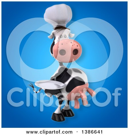 Clipart of a 3d Chef Cow, on a Blue Background - Royalty Free Vector Illustration by Julos