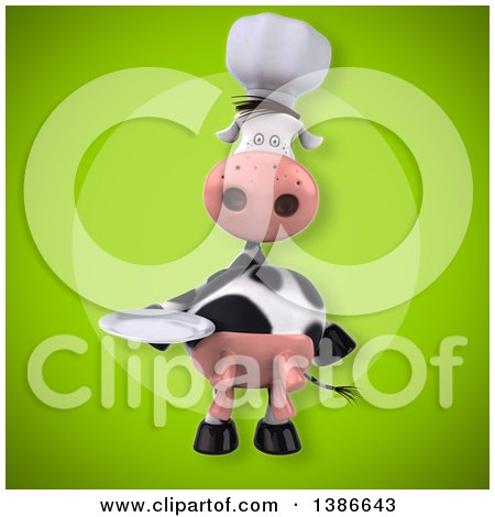 Clipart of a 3d Chef Cow, on a Green Background - Royalty Free Vector Illustration by Julos