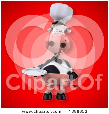 Clipart of a 3d Chef Cow Holding a Plate, over a Red Background - Royalty Free Illustration by Julos