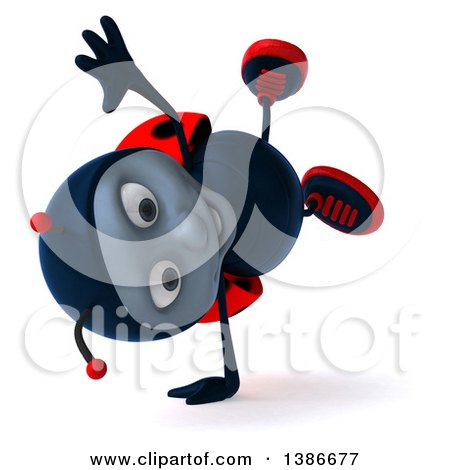 Clipart of a 3d Happy Ladybug Cartwheeling, on a White Background - Royalty Free Illustration by Julos