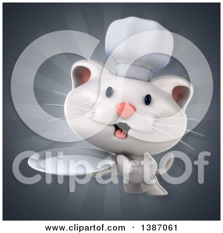 Clipart of a 3d White Chef Cat over Rays - Royalty Free Illustration by Julos