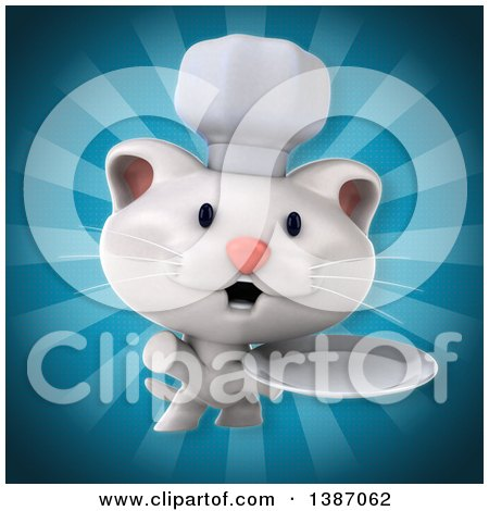 Clipart of a 3d White Chef Cat over Blue Rays - Royalty Free Illustration by Julos