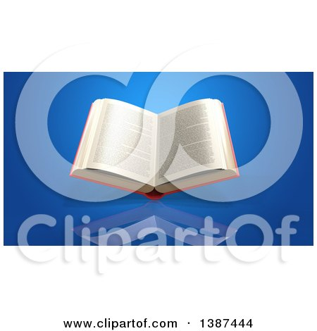 Clipart of a 3d Open Book, on a Blue Background - Royalty Free Illustration by Julos