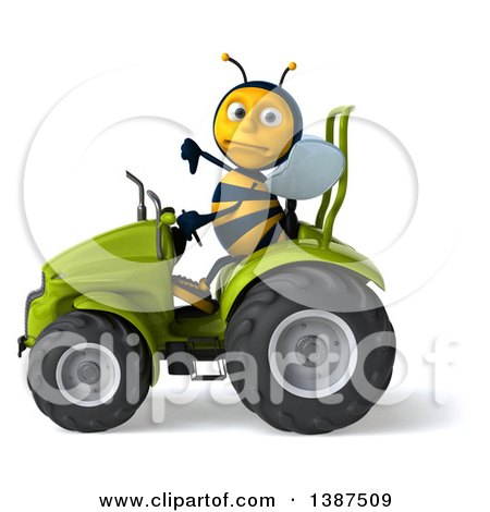 Clipart of a 3d Male Bee Operating a Tractor, on a White Background - Royalty Free Illustration by Julos