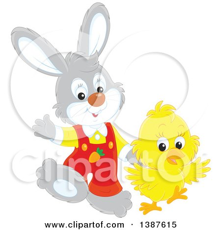 Clipart of a Cute Easter Bunny Rabbit and Chick - Royalty Free Vector Illustration by Alex Bannykh