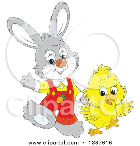 Clipart of a Cartoon Cute Easter Bunny Rabbit and Chick - Royalty Free Vector Illustration by Alex Bannykh
