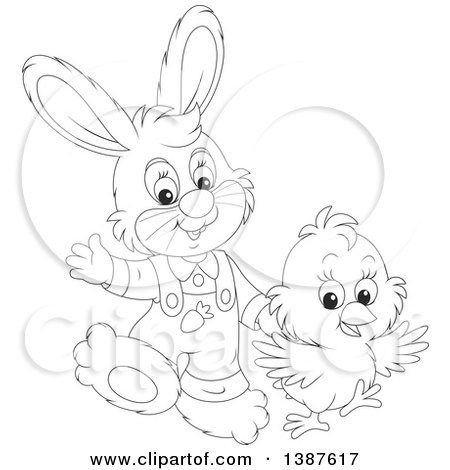 Clipart of a Black and White Lineart Cute Easter Bunny Rabbit and Chick - Royalty Free Vector Illustration by Alex Bannykh