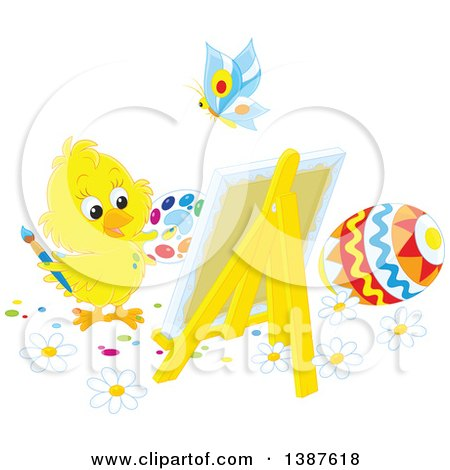 Clipart of a Cute Chick Painting Easter Eggs on Canvas - Royalty Free Vector Illustration by Alex Bannykh