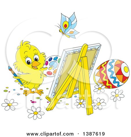 Clipart of a Cartoon Cute Chick Painting Easter Eggs on Canvas - Royalty Free Vector Illustration by Alex Bannykh