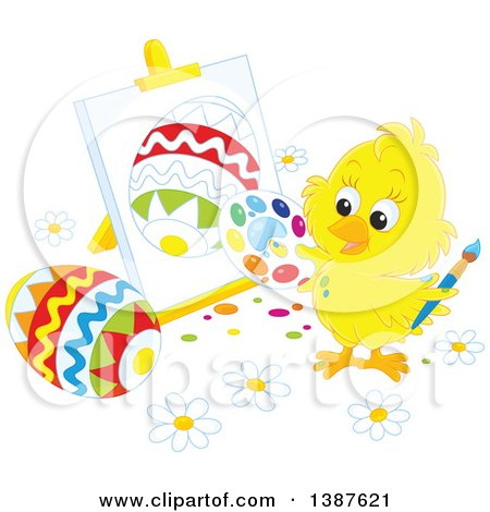 Clipart of a Cute Yellow Chick Painting Easter Eggs on Canvas - Royalty Free Vector Illustration by Alex Bannykh